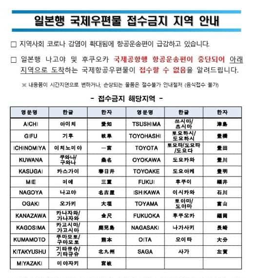 コロナ19対応_韓国から日本行国際EMS中止地域